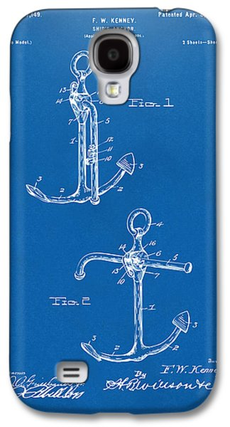 Historic Ship Galaxy S4 Cases - 1902 Ships Anchor Patent Artwork - Blueprint Galaxy S4 Case by Nikki Marie Smith