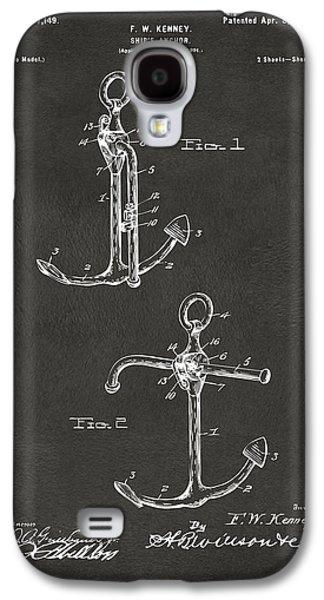 Historic Ship Galaxy S4 Cases - 1902 Ships Anchor Patent Artwork - Gray Galaxy S4 Case by Nikki Marie Smith
