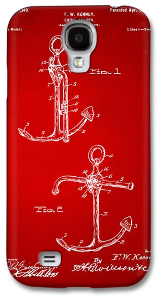 Historic Ship Galaxy S4 Cases - 1902 Ships Anchor Patent Artwork - Red Galaxy S4 Case by Nikki Marie Smith