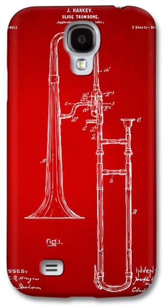 1902 Slide Trombone Patent Artwork Red Galaxy S4 Case by Nikki Marie Smith