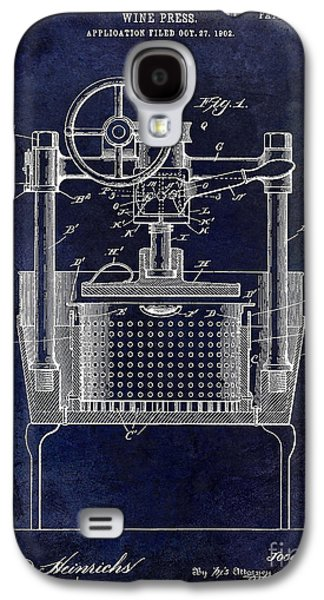 Wine Barrel Photographs Galaxy S4 Cases - 1902 Wine Press Patent Drawing Blue Galaxy S4 Case by Jon Neidert