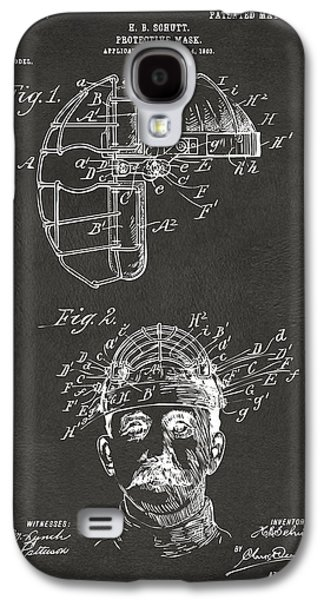 Baseball Bat Galaxy S4 Cases - 1904 Baseball Catchers Mask Patent Artwork - Gray Galaxy S4 Case by Nikki Marie Smith
