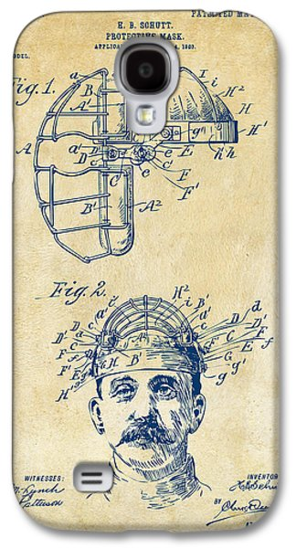 Baseball Bat Galaxy S4 Cases - 1904 Baseball Catchers Mask Patent Artwork - Vintage Galaxy S4 Case by Nikki Marie Smith