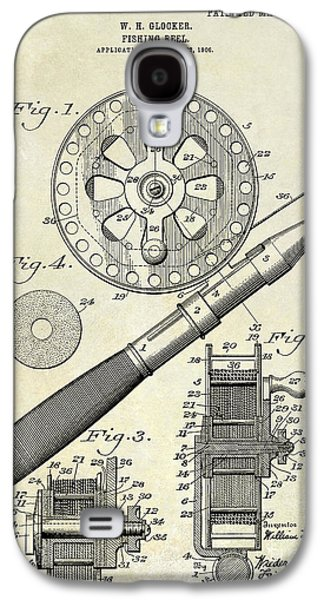 1906 Fishing Reel Patent Drawing Galaxy S4 Case by Jon Neidert
