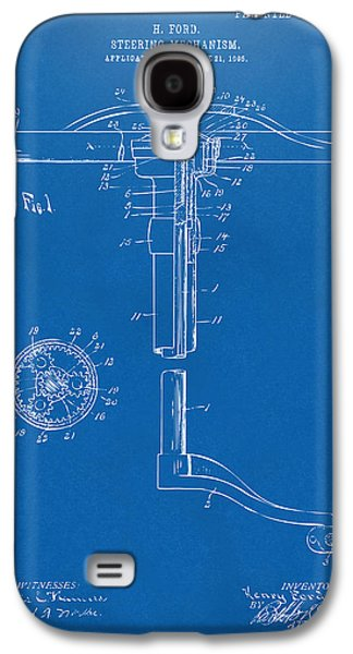 Mechanism Galaxy S4 Cases - 1907 Henry Ford Steering Wheel Patent Blueprint Galaxy S4 Case by Nikki Marie Smith