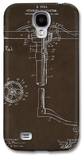 Mechanism Galaxy S4 Cases - 1907 Henry Ford Steering Wheel Patent Espresso Galaxy S4 Case by Nikki Marie Smith
