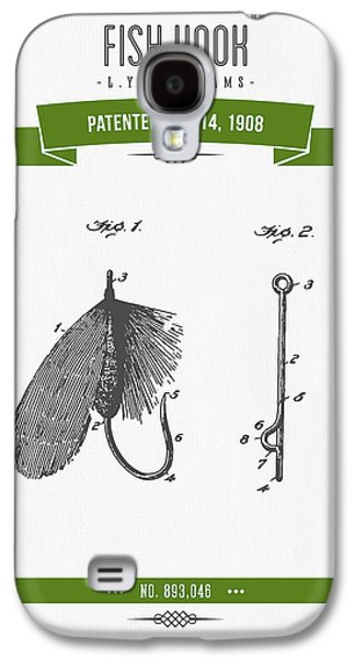 Technical Mixed Media Galaxy S4 Cases - 1908 Fish Hook Patent Drawing - Retro Geen Galaxy S4 Case by Aged Pixel
