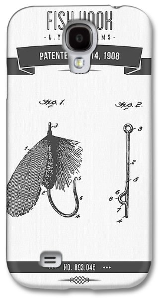 Technical Mixed Media Galaxy S4 Cases - 1908 Fish Hook Patent Drawing - Retro Gray Galaxy S4 Case by Aged Pixel