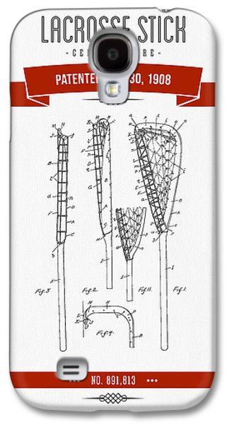 Technical Mixed Media Galaxy S4 Cases - 1908 Lacrosse Stick Patent Drawing - Retro Red Galaxy S4 Case by Aged Pixel