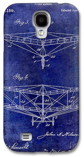 Airliner Galaxy S4 Cases - 1909 Flying Machine Patent Drawing Blue Galaxy S4 Case by Jon Neidert