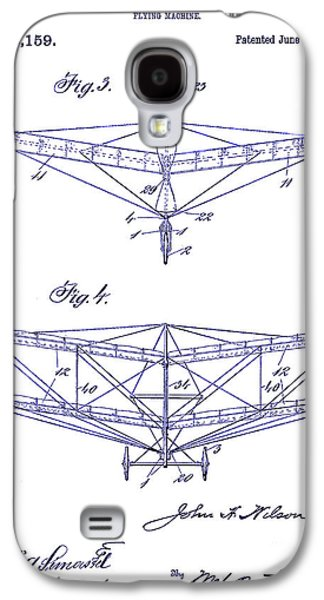 Airliner Galaxy S4 Cases - 1909 Flying Machine Patent Drawing Blueprint Galaxy S4 Case by Jon Neidert