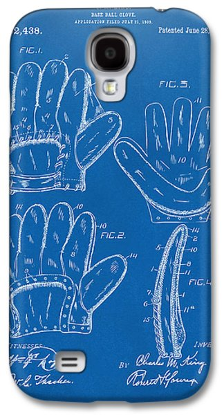 Athlete Digital Art Galaxy S4 Cases - 1910 Baseball Glove Patent Artwork Blueprint Galaxy S4 Case by Nikki Marie Smith