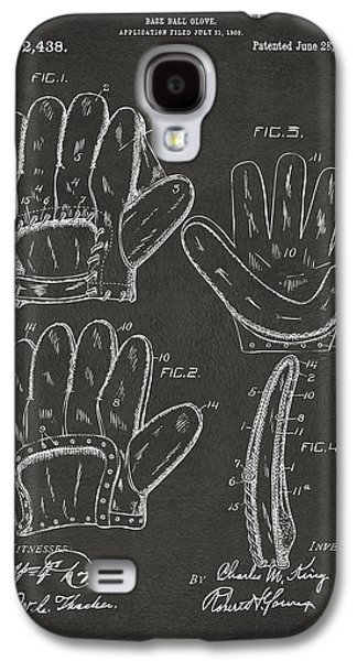 Baseball Glove Galaxy S4 Cases - 1910 Baseball Glove Patent Artwork - Gray Galaxy S4 Case by Nikki Marie Smith