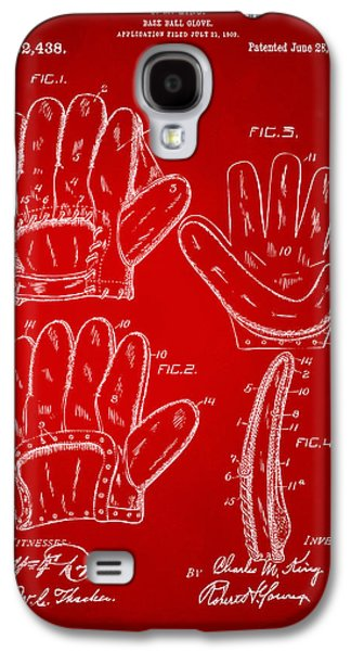Athlete Digital Art Galaxy S4 Cases - 1910 Baseball Glove Patent Artwork Red Galaxy S4 Case by Nikki Marie Smith
