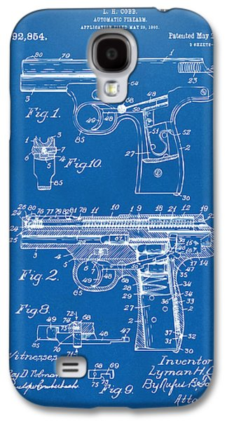 Law Enforcement Galaxy S4 Cases - 1911 Automatic Firearm Patent Artwork - Blueprint Galaxy S4 Case by Nikki Marie Smith