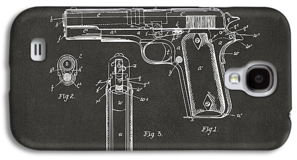Hunters Galaxy S4 Cases - 1911 Browning Firearm Patent Artwork - Gray Galaxy S4 Case by Nikki Marie Smith