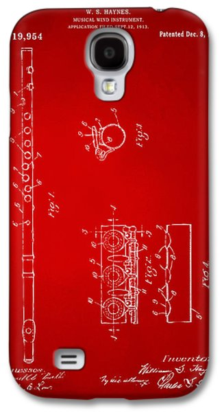 1914 Flute Patent - Red Galaxy S4 Case by Nikki Marie Smith