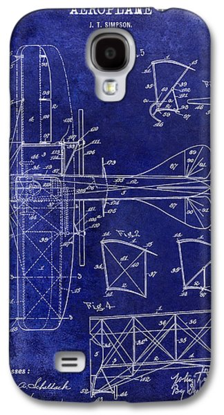 Airliner Galaxy S4 Cases - 1915 Aeroplane Patent Drawing Blue Galaxy S4 Case by Jon Neidert