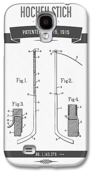 Hockey Mixed Media Galaxy S4 Cases - 1915 Hockey Stick Patent Drawing - Retro Gray Galaxy S4 Case by Aged Pixel