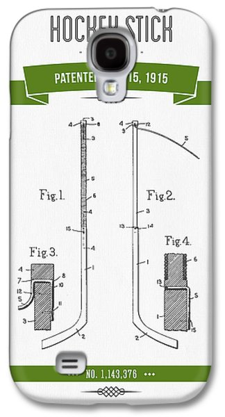 Hockey Mixed Media Galaxy S4 Cases - 1915 Hockey Stick Patent Drawing - Retro Green Galaxy S4 Case by Aged Pixel