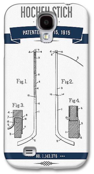 Hockey Mixed Media Galaxy S4 Cases - 1915 Hockey Stick Patent Drawing - Retro Navy Blue Galaxy S4 Case by Aged Pixel