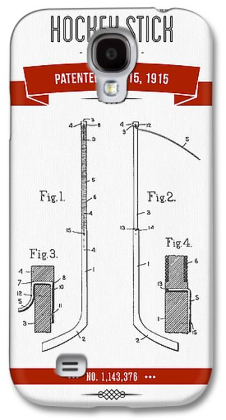 Technical Mixed Media Galaxy S4 Cases - 1915 Hockey Stick Patent Drawing - Retro Red Galaxy S4 Case by Aged Pixel