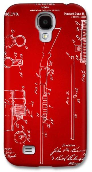 Remington Digital Galaxy S4 Cases - 1915 Ithaca Shotgun Patent Red Galaxy S4 Case by Nikki Marie Smith