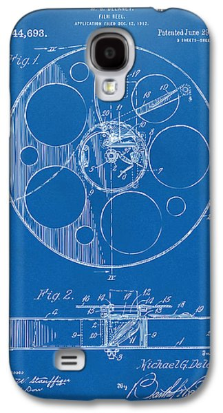 Reeling Galaxy S4 Cases - 1915 Movie Film Reel Patent Blueprint Galaxy S4 Case by Nikki Marie Smith
