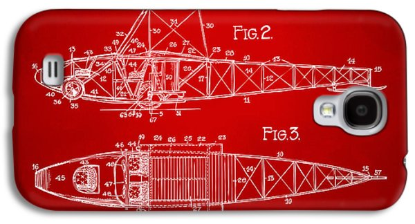 Curtiss Galaxy S4 Cases - 1917 Glenn Curtiss Aeroplane Patent Artwork 2 Red Galaxy S4 Case by Nikki Marie Smith