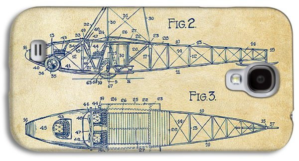 1917 Glenn Curtiss Aeroplane Patent Artwork 2 Vintage Galaxy S4 Case by Nikki Marie Smith