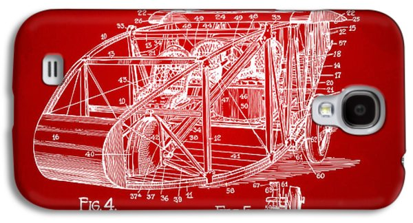 Curtiss Galaxy S4 Cases - 1917 Glenn Curtiss Aeroplane Patent Artwork 3 Red Galaxy S4 Case by Nikki Marie Smith