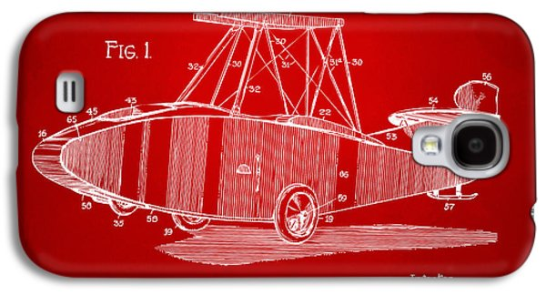 1917 Glenn Curtiss Aeroplane Patent Artwork Red Galaxy S4 Case by Nikki Marie Smith