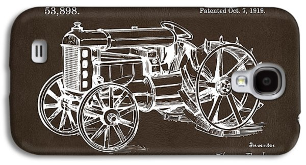 Tractor Prints Galaxy S4 Cases - 1919 Henry Ford Tractor Patent Espresso Galaxy S4 Case by Nikki Marie Smith