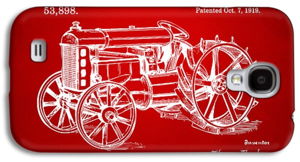 Tractor Prints Galaxy S4 Cases - 1919 Henry Ford Tractor Patent Red Galaxy S4 Case by Nikki Marie Smith