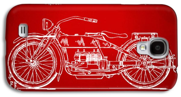 1919 Motorcycle Patent Red Galaxy S4 Case by Nikki Marie Smith