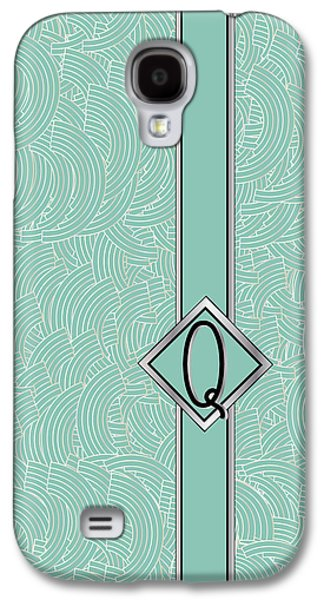Art Mobile Galaxy S4 Cases - 1920s Blue Deco Jazz Swing Monogram ...letter Q Galaxy S4 Case by Cecely Bloom