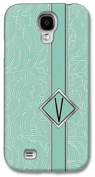 Art Mobile Galaxy S4 Cases - 1920s Blue Deco Jazz Swing Monogram ...letter V Galaxy S4 Case by Cecely Bloom