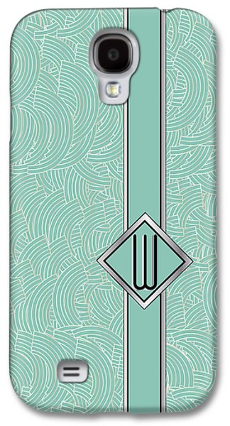 Art Mobile Galaxy S4 Cases - 1920s Blue Deco Jazz Swing Monogram ...letter W Galaxy S4 Case by Cecely Bloom