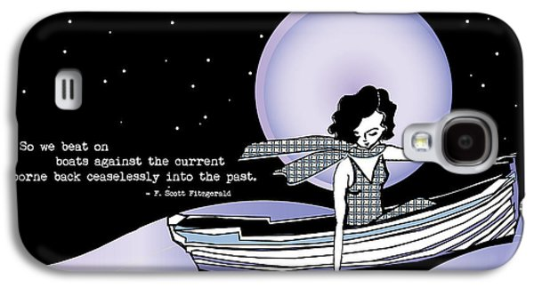 Lilacs Drawings Galaxy S4 Cases - 1920s Gatsby Girl Sailing with  F Scott Fitzgerald Quote  Galaxy S4 Case by Cecely Bloom