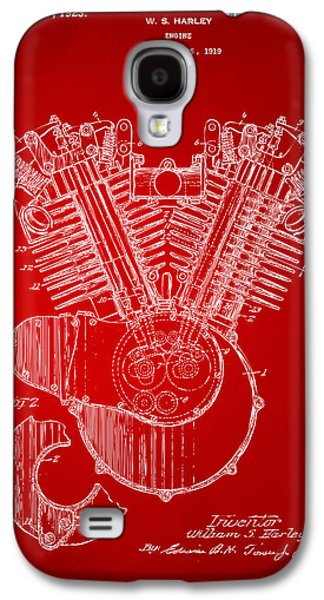 1923 Harley Engine Patent Art Red Galaxy S4 Case by Nikki Marie Smith