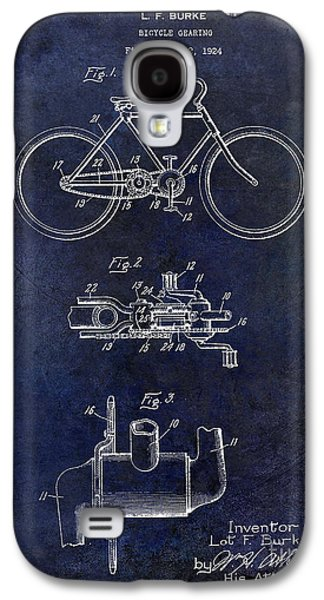 Bicycle Photographs Galaxy S4 Cases - 1924 Bicycle Patent Drawing Blue Galaxy S4 Case by Jon Neidert