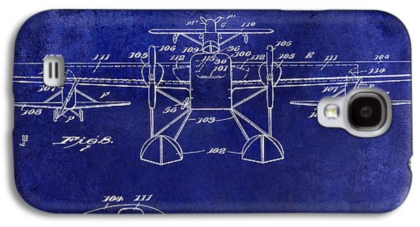 Airliner Galaxy S4 Cases - 1927 Airplane Patent Drawing Blue Galaxy S4 Case by Jon Neidert