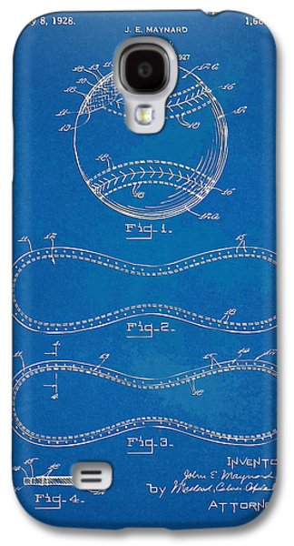 Men Drawings Galaxy S4 Cases - 1928 Baseball Patent Artwork - Blueprint Galaxy S4 Case by Nikki Smith