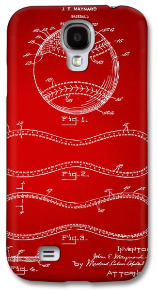 Athlete Digital Art Galaxy S4 Cases - 1928 Baseball Patent Artwork Red Galaxy S4 Case by Nikki Marie Smith