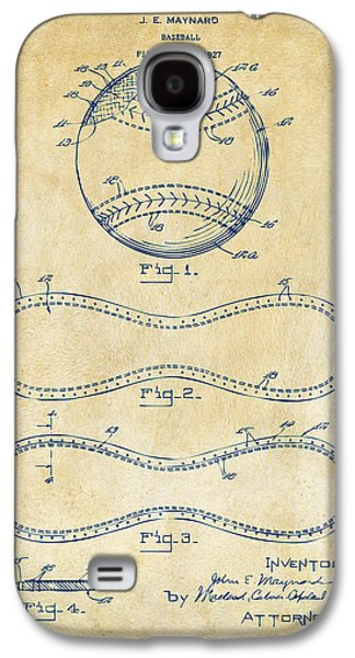 Athlete Digital Galaxy S4 Cases - 1928 Baseball Patent Artwork Vintage Galaxy S4 Case by Nikki Marie Smith