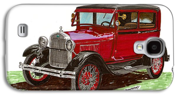 Pen And Ink Framed Prints Galaxy S4 Cases - 1928 Ford model A two door Galaxy S4 Case by Jack Pumphrey
