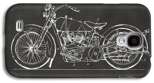 1928 Harley Motorcycle Patent Artwork - Gray Galaxy S4 Case by Nikki Marie Smith