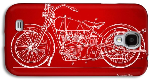 1928 Harley Motorcycle Patent Artwork Red Galaxy S4 Case by Nikki Marie Smith