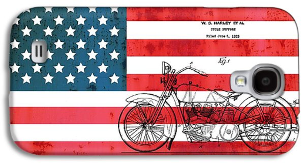 Stars And Stripes Mixed Media Galaxy S4 Cases - 1928 Harley Patent American Flag Galaxy S4 Case by Dan Sproul