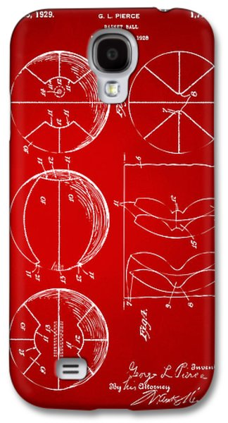 Basket Ball Game Galaxy S4 Cases - 1929 Basketball Patent Artwork - Red Galaxy S4 Case by Nikki Marie Smith